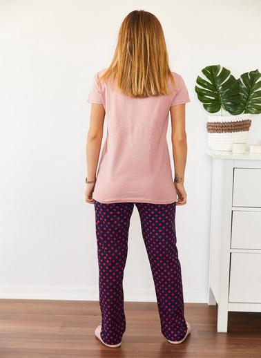 XHAN Baskılı Pijama Takımı 0Yxk8-43663-50 Pudra